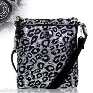 Coach Ocelot/Leopard Swingpack Metallic Black